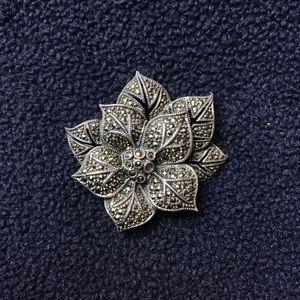Vintage Marcasite Sterling silver flower brooch